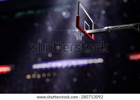 Basketball houp in light shine in bokeh background. 3d render illustration  - stock photo