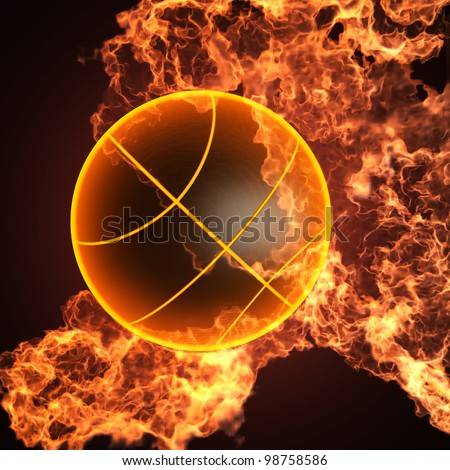 Basketball in fire made in 3D - stock photo