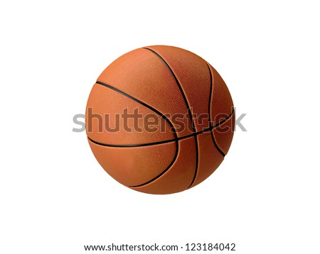 Basketball in orange with black stripes, isolated on white background - stock photo