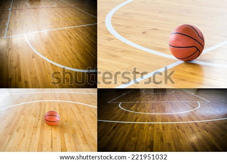 Basketball in the gym - stock photo