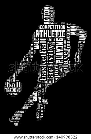 Basketball info-text graphic and arrangement concept on black background (word cloud) - stock photo