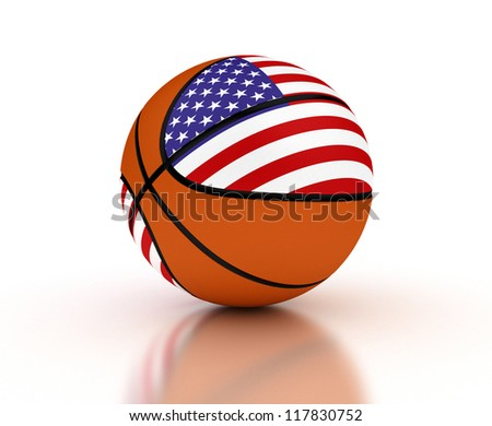 Basketball national team on white background (Computer generated image) - stock photo