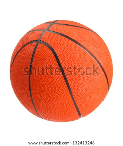 Basketball on a finger isolated on white - stock photo