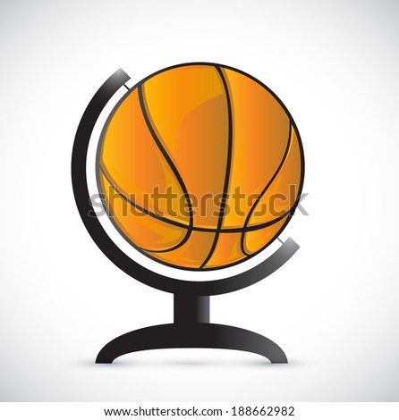 basketball on a rotation atlas illustration design over a white background - stock photo