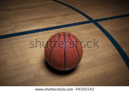 Basketball on the court - stock photo