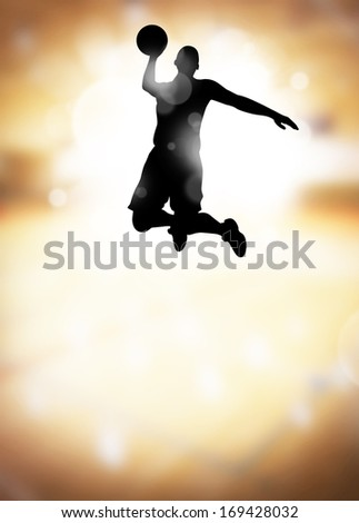 Basketball or streetball: sportsman jumping poster or flyer background with space - stock photo