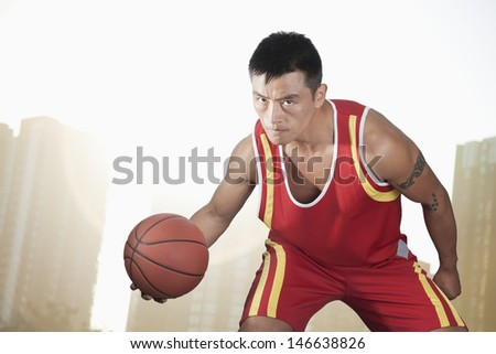 Basketball player, cityscape background