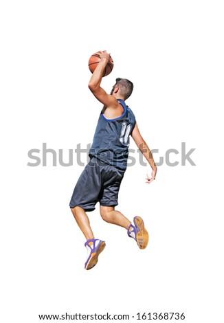 basketball player dunking on white background - stock photo