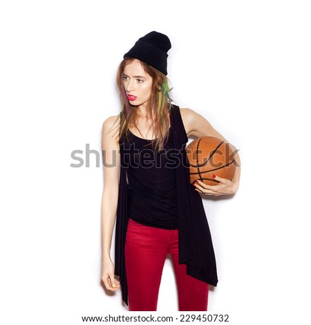 basketball player girl holding ball, in white background, not isolated - stock photo