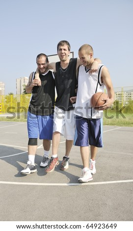 basketball player have foot trauma strech and injury at outdoor  streetbal court - stock photo