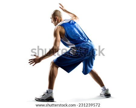 Basketball player isolated on white - stock photo