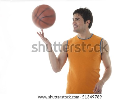 Basketball player, isolated on white - stock photo