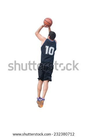 basketball player making a jump shot on white background - stock photo