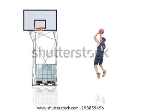 basketball player shooting on white - stock photo