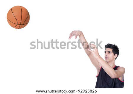 basketball player throwing the ball on white background - stock photo