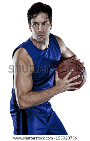 Basketball player with a ball in his hands and a Blue uniform. On a white Background - stock photo