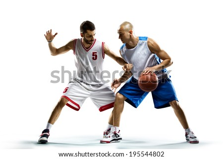 Basketball players isolated on white - stock photo