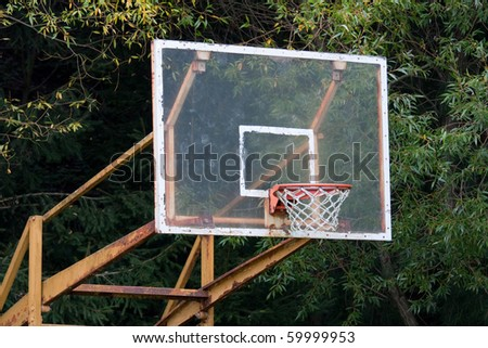 basketball ring close up and blue sky - stock photo