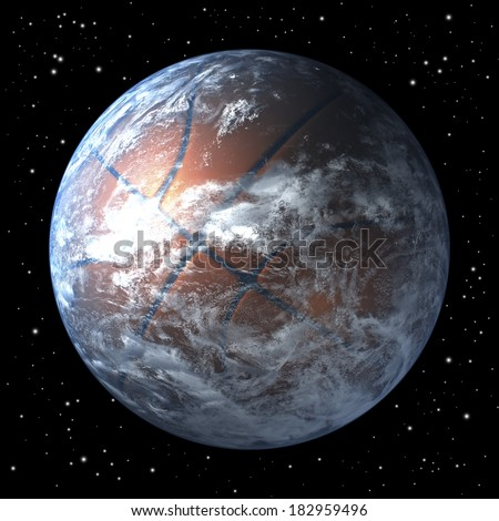 Basketball shaped planet earth free floating in space, 3d rendering - stock photo