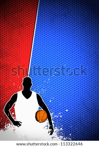 Basketball sport poster: man and ball grunge background withs space - stock photo