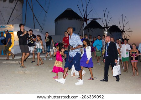 Basketball star Kobe Bryant with wife Vanessa and family on vacation in  Mykonos,Greece. June 23,2014   - stock photo