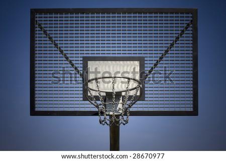 basketball steel backboard against blue sky - stock photo