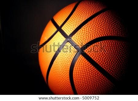 basketball with dark background horizontal - stock photo