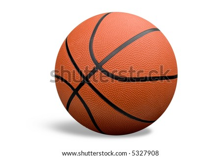Basketball with shadow isolated over a white background with a clipping path - stock photo