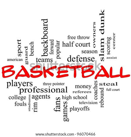 Basketball Word Cloud Concept in red caps with great terms such as guard, steal, rebound, slam dunk, center, assist, games and more.