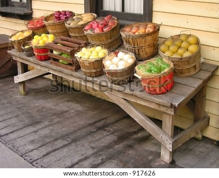 Baskets of Produce Table - stock photo