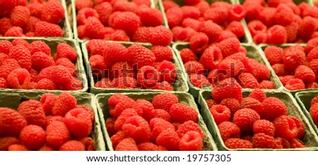 Baskets of raspberries at a farmers market