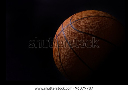 baskettball detail isolated in black - stock photo