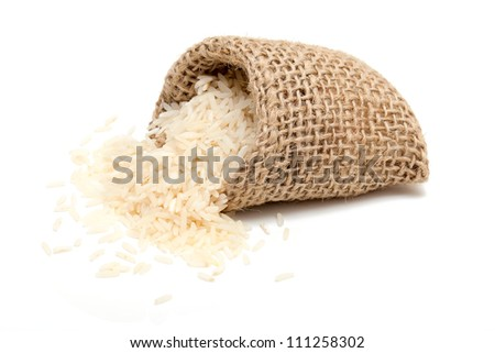 basmati rice in a miniature burlap bag isolated on white - stock photo