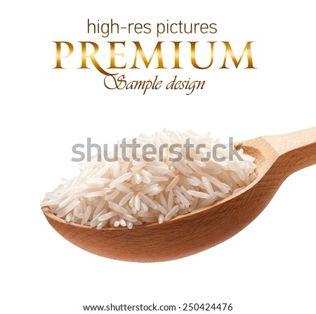 Basmati rice in a wooden spoon / cereal on wooden spoons isolated on white background with place for your text  - stock photo