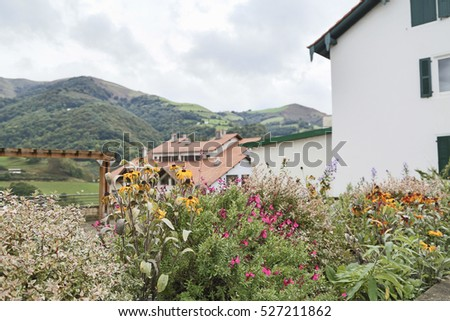 Basque town Luzaide, Valcarlos in Spanish, in Navarre Pyrenees in Spain, situated on Camino de Santiago or St James way.