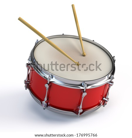Bass drum isolated on white - stock photo