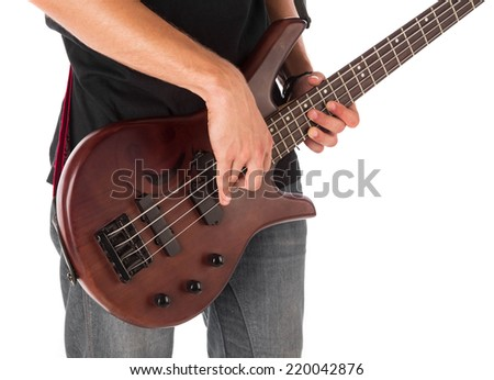 Bass guitarist. Isolated on the white background. - stock photo
