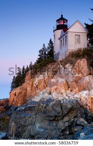 Bass Harbor Lighthouse, Acadia National Park, Maine, USA - stock photo