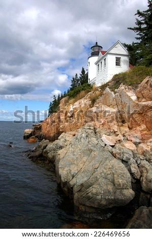 Bass Harbor Lighthouse in Acadia National Park, Maine - stock photo