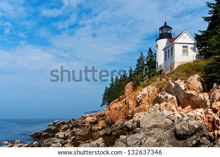 Bass Harbor lighthouse is located in northern Maine's Acadia National Park. - stock photo