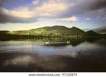 bassenthwiate lake in the english lake district cumbria england uk - stock photo