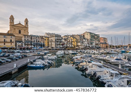 BASTIA, FRANCE - JULY 1, 2016: Old harbour view at daytime.