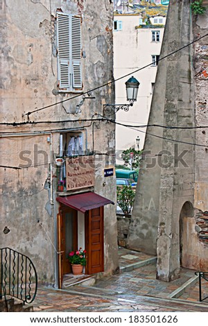 BASTIA, FRANCE - MAY 1, 2013: The old shop located in the backstreet in the medieval city district, on May 1 in Bastia.