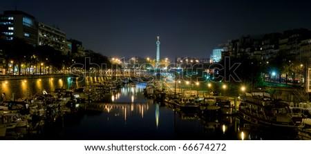 Bastille by night - Paris - stock photo