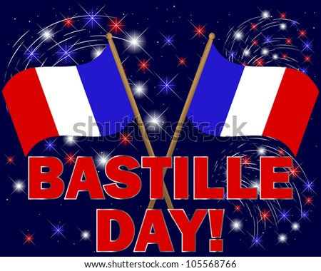 Bastille Day. Celebratory background with fireworks and flags. Raster version. - stock photo