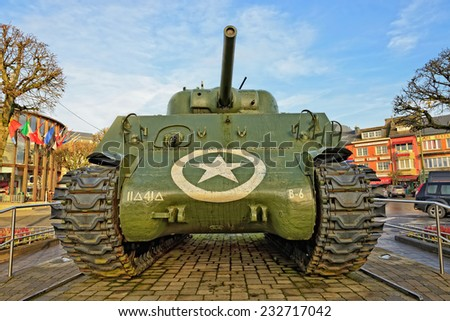BASTOGNE, BELGIUM-NOVEMBER 23, 2014: The central monument of Bastogne Sherman tank on Place McAuliffe. This city was in center of the Battle of the Bulge in December 1944 - January 1945 - stock photo