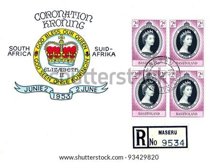 BASUTOLAND (SOUTH AFRICA) - CIRCA 1953: A stamp series printed in Basutoland South Africa on First Day of Issue Envelope shows coronation of Queen Elizabeth, circa 1953 - stock photo