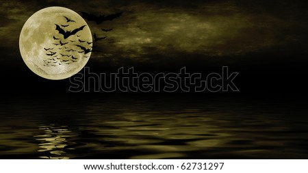 Bat flying over full moon halloween background - stock photo