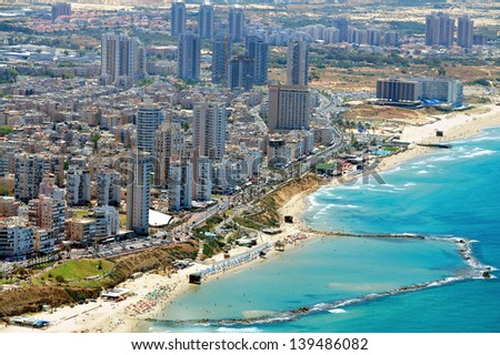 BAT YAM, ISR - MAY 11: Aerial view of Bat Yam city on May 11 2011.It's a resort town located on the middle of Israel's Mediterranean Sea coast established in 1926.