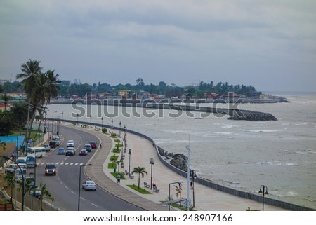 BATA, EQUATORIAL GUINEA - JANUARY 28, 2015: The waterfront is a popular destination for tourists and locals alike